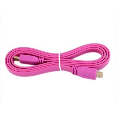 HDMI MALE TO MALE COLOR FULL FLAT 1.4 V CABLE  (pink)